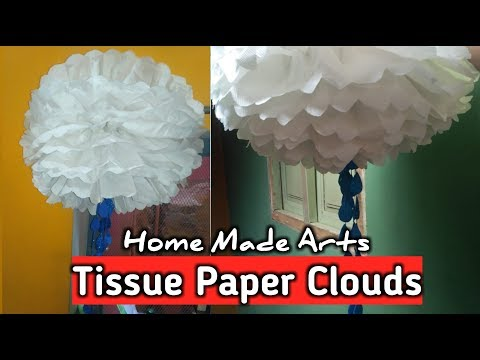 Tissue Paper Cloud With Rain Drops | How to Make Tissue Paper Clouds
