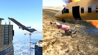 GTA5 - Dangerous Takeoff and Crash Landing at Army Base on private jet...