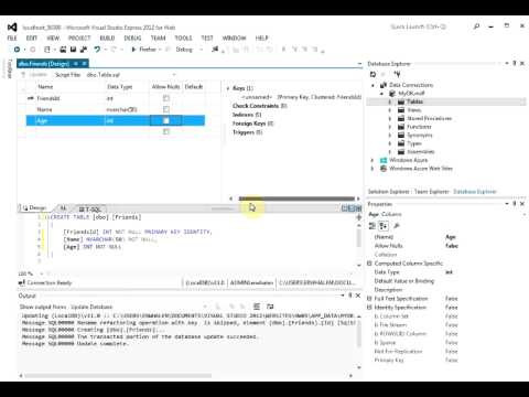 Creating a SQL Database in Visual Studio 2112 Express for Web