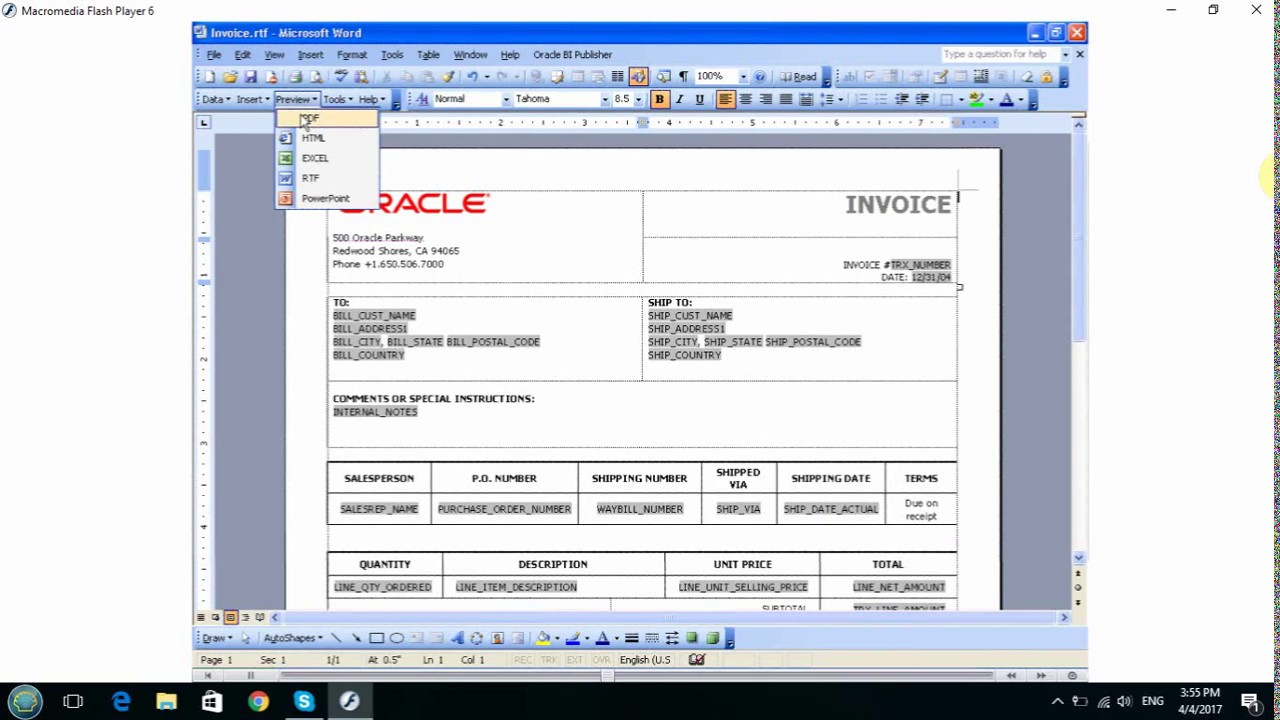 Oracle Bi Publisher Template Builder For Word Youtube