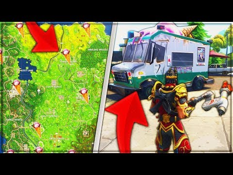 New Fortnite Week 4 * Ice Cream Truck Challenge Complete * All Ice Cream Truck Locations
