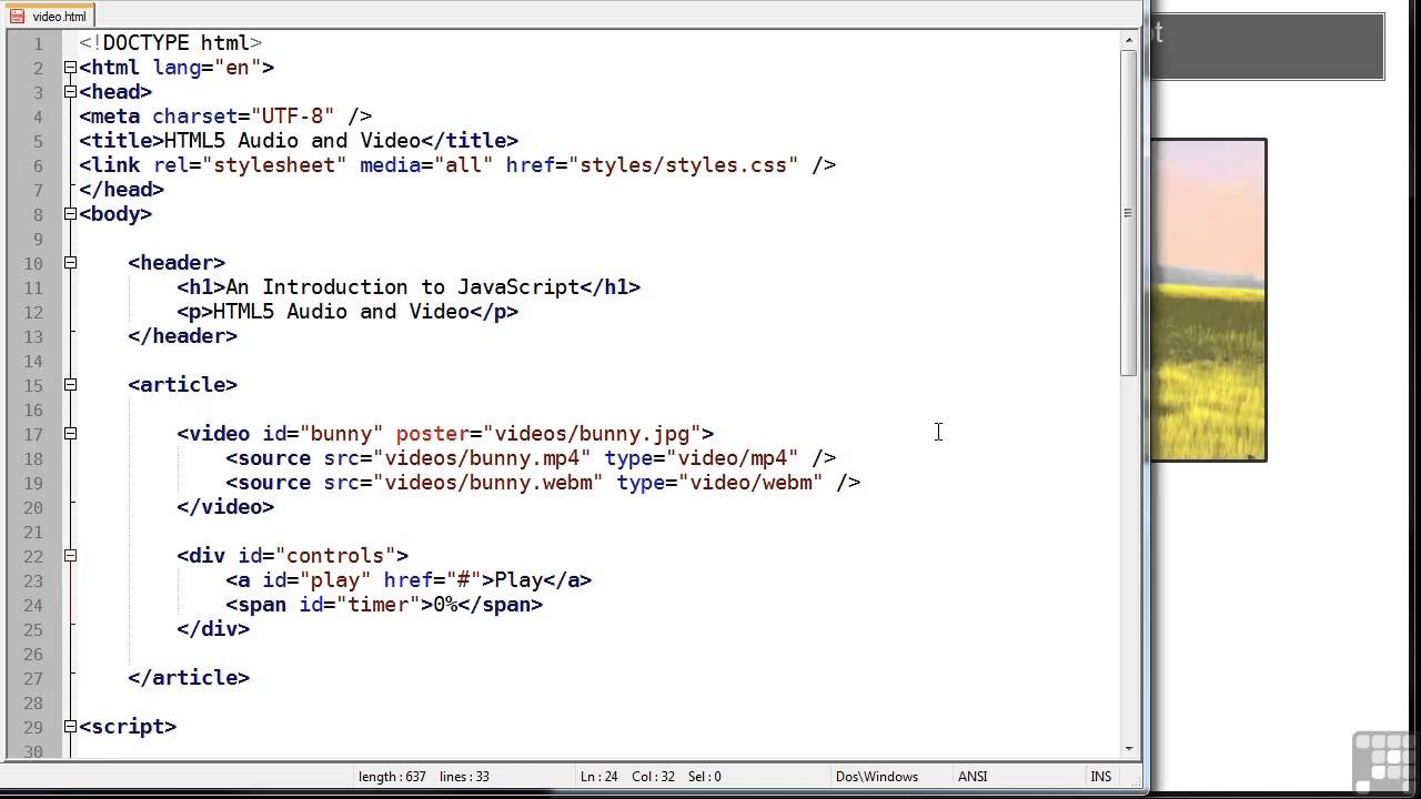 Javascript Programming Tutorial   Audio and Video HTML5 ...