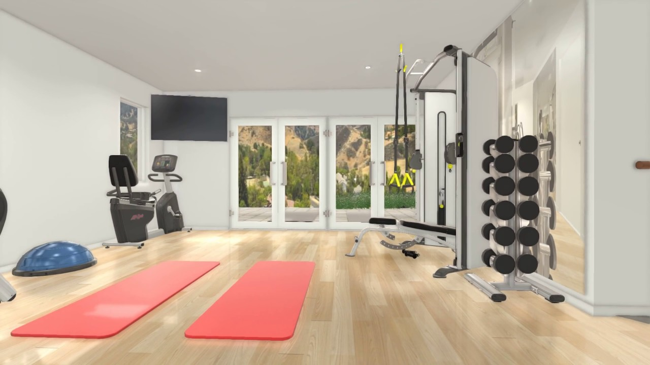 Custom 3d home gym interior design v2 by fs2 training llc for Home gym interior design
