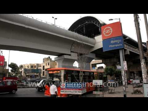 Traffic passing through Pitampura Metro Station