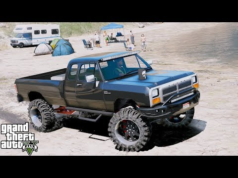 GTA 5 REAL LIFE MOD #58 - 1992 Dodge Ram 250 - Fishing Camp Site - Throw Back Thursday