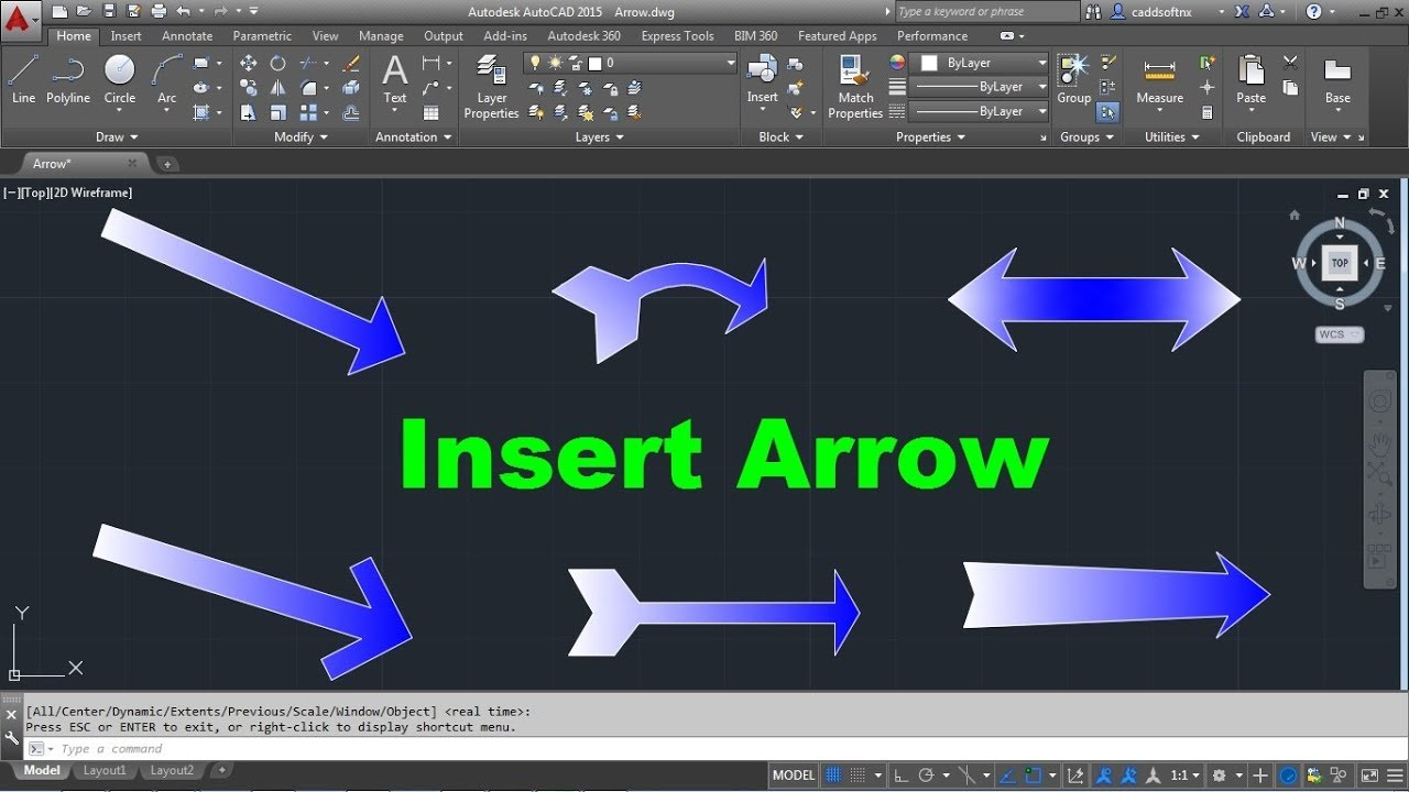 AutoCAD Insert Arrow Symbol | Curved Arrow | 6 Types of Arrows