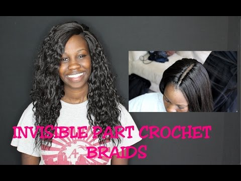 Realistic Invisible part Crochet braids and Hot water Curling