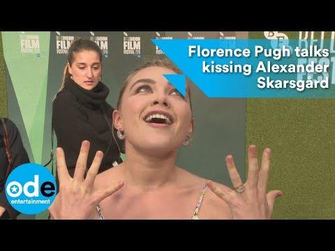 Florence Pugh talks kissing Alexander Skarsgård