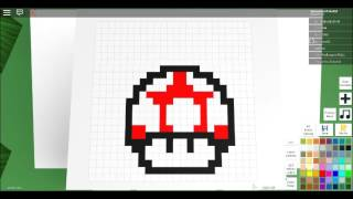 how to draw a mushroom from mario in pixel art creator-ROBLOX
