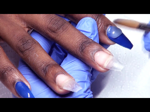 HOW TO: Royal Blue Negative Space Acrylic Nails