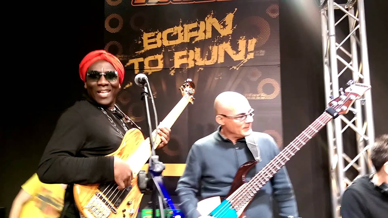 richard bona,hadrien feraud,domique dipiazza, jam at markbass booth musikmesse 2015