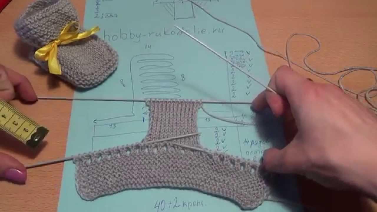 схема вязания пинеток спицами 2 шаг Scheme Knitting Bootees