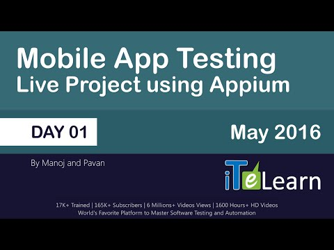 Mobile App Testing Live Project using Appium  Day 01