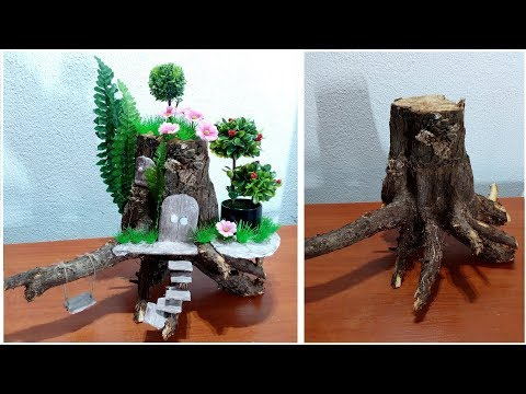 How to Make a fairy House from a Wooden root