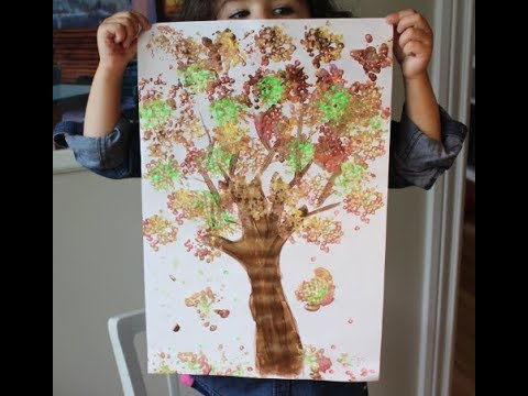 Diy How To Splat Painting With Cotton Autumn Tree With Q Tips