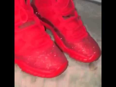 Jordan s 11 retro turned custom all red - YouTube a7bef67bb