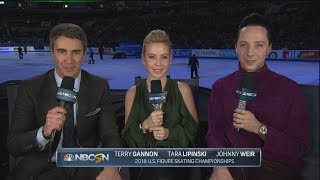 Johnny Weir, Tara Lipinski and Terry Gannon at U.S. Nats 2018