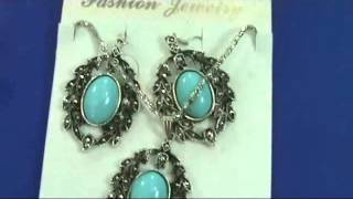 Vintage Antique Style Turquoise Earring And Necklace Jewelry Set Wholesalesarong.com