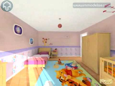 visite virtuelle 3d chambre fille youtube. Black Bedroom Furniture Sets. Home Design Ideas