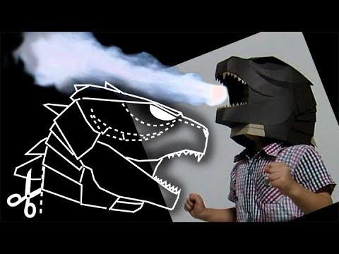 Cardboard Godzilla Helmet Making
