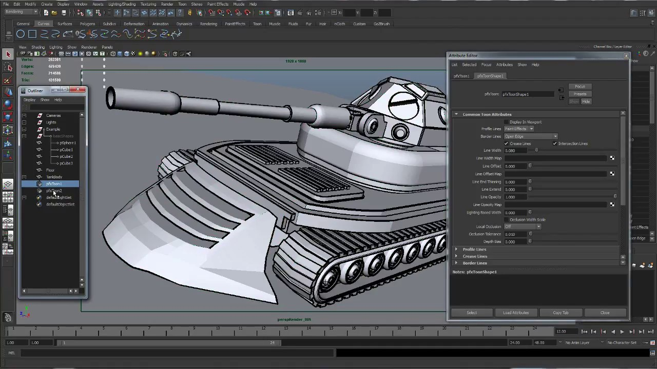 Maya Toon Shader And Toon Outlines Set Up HD
