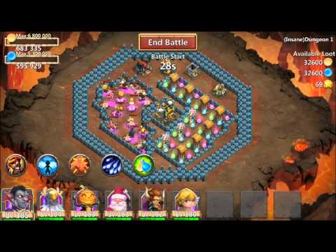 Castle Clash Insane Dungeon 1 8-9 And Dungeon 2