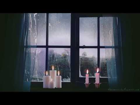 🎧 Rain on Window and Distant Thunder   8 HOURS   ASMR Ambience with Candle Sounds