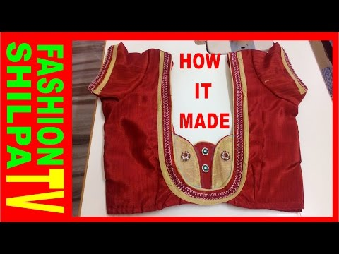 how to measure and cut simple blouse/latest easy blouse cutting and stitching with back pattern 2016
