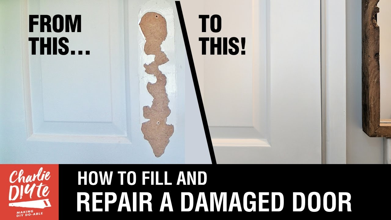 How To Fill And Repair A Damaged Hollow Core Door Youtube