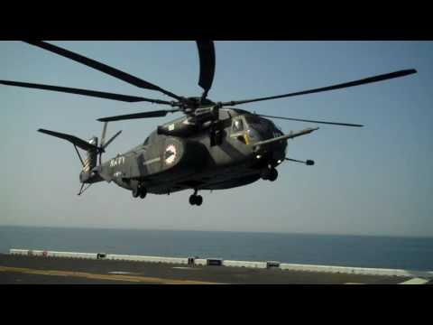 Super Stallion Helicopter landing on the USS Bataan in the Atlantic offshore from NY Harbor
