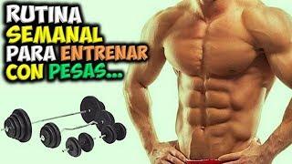 RUTINA Semanal 💪 De ENTRENAMIENTO Con PESAS 🏋️ Para Ganar MASA MUSCULAR!!! screenshot 4