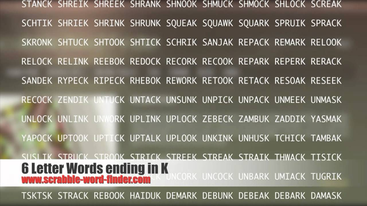 6 letter words ending in K   YouTube