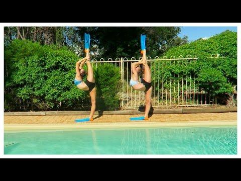 Acro gymnastics at the pool