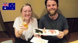 日本酒(獺祭、八海山)がすすむ!オーストラリア人が寿司を食す!/ Sushi and Sake in Tokyo!