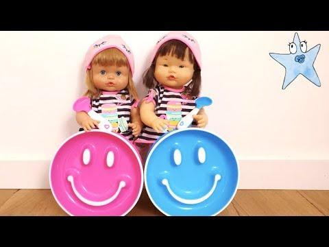 Ani Y Ona Sólo Comen En Sus Nuevos Platos De Emojis Vídeos Para Niños