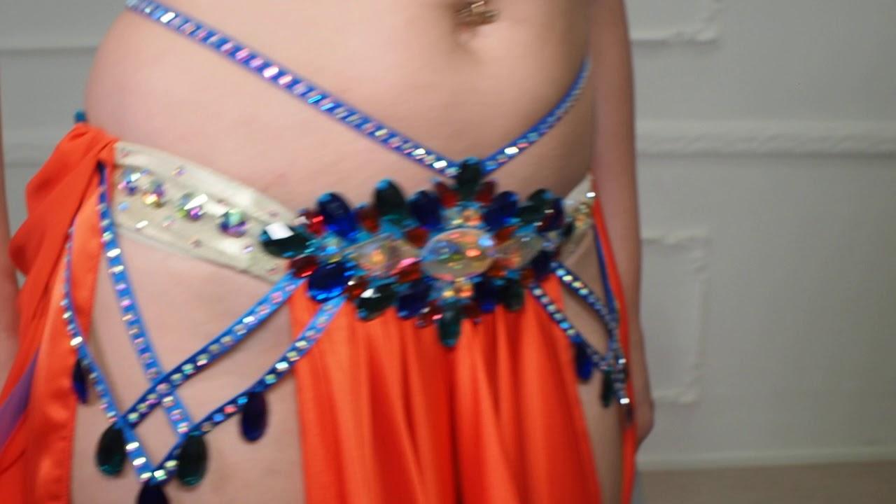 Magnificent Orange with Dark Blue Belly Dance Costume