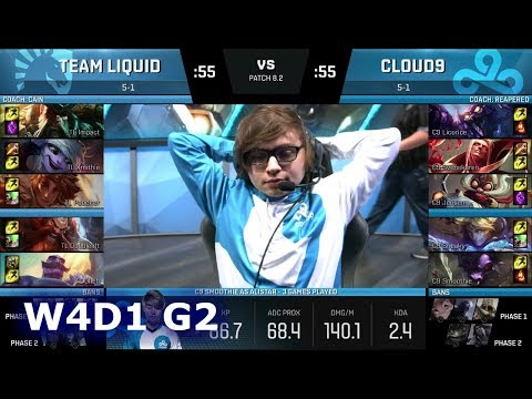 Team Liquid vs Cloud 9 | Week 4 Day 1 of S8 NA LCS Spring 2018 | TL vs C9 W4D1 G2