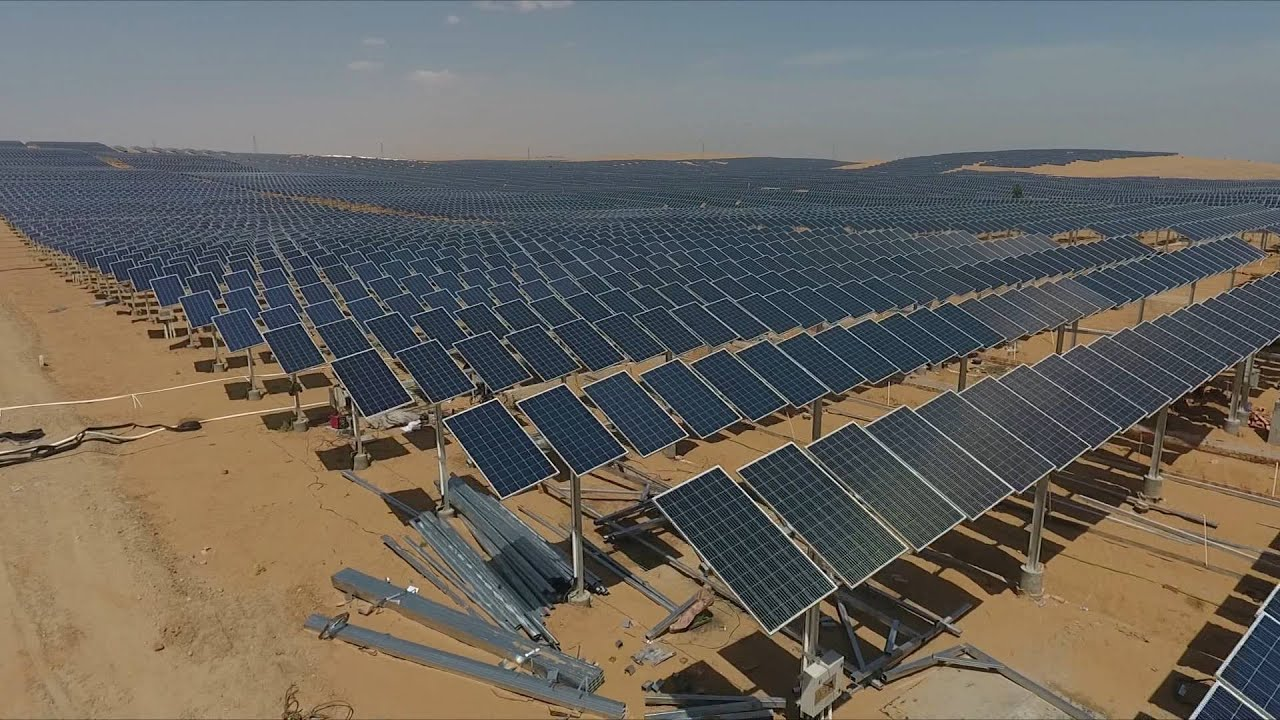1 mln kW PV power station being built in China's Kubuqi Desert