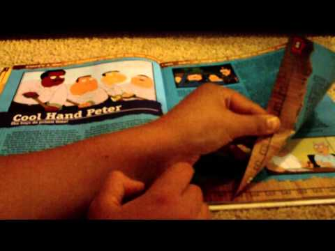 asmr: flipping through a book 'family guy annual 2013' (with licking fingers)