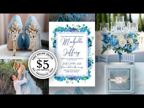 how-to-make-wedding-invitation-edit-wording-blue-hydrangea-and-eucalyptus-trend-color-2020