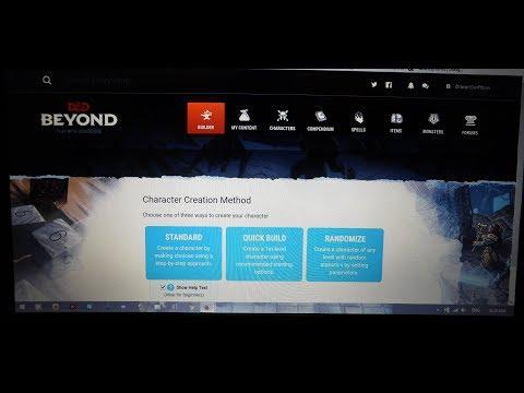 D&D Beyond Character Generator Demonstration