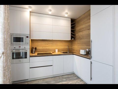 Современная белая, угловая кухня под потолок без ручек. Видео обзор кухни на заказ  Everest.by