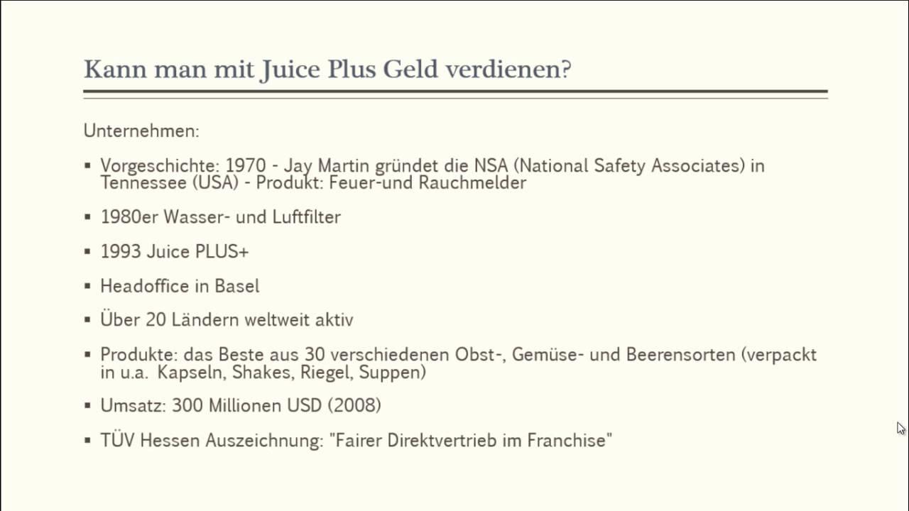 Juice Plus Geld Verdienen
