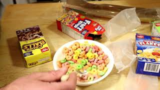 Dollar Store Cocoa Balls, Toasted Oats, Apple Bits, Sugar Flakes, Fruit Rings Cereal Food Review