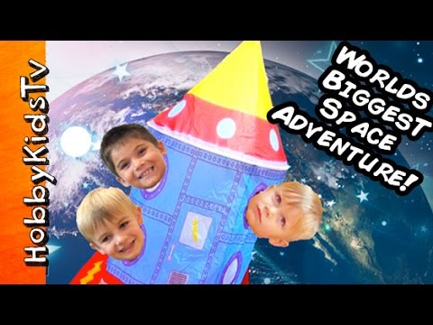 Worlds BIGGEST Outer SPACE SHIP to Moon! Surprises+Astronauts Adventure Science Lab by HobbyKidsTV