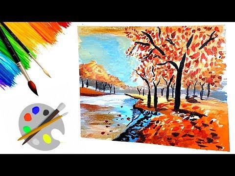 Beautiful Autumn  Landscape | Easy Acrylic  Painting Tutorial