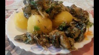 Вкусные грибы со сметаной. Как приготовить грибы. Рецепт с луком и картошкой