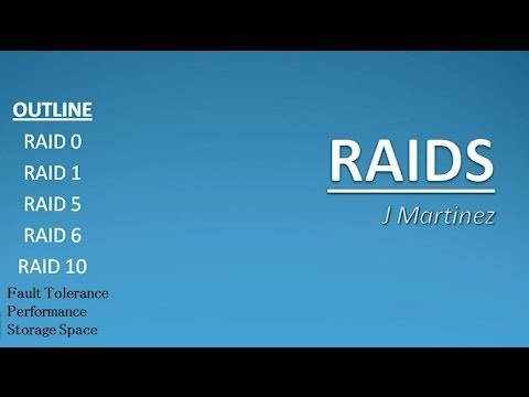 Asher Dallas Lecture - RAIDS 101 : RAID 0 vs RAID 1 vs RAID 5 vs RAID 6 vs RAID 10 by J Martinez