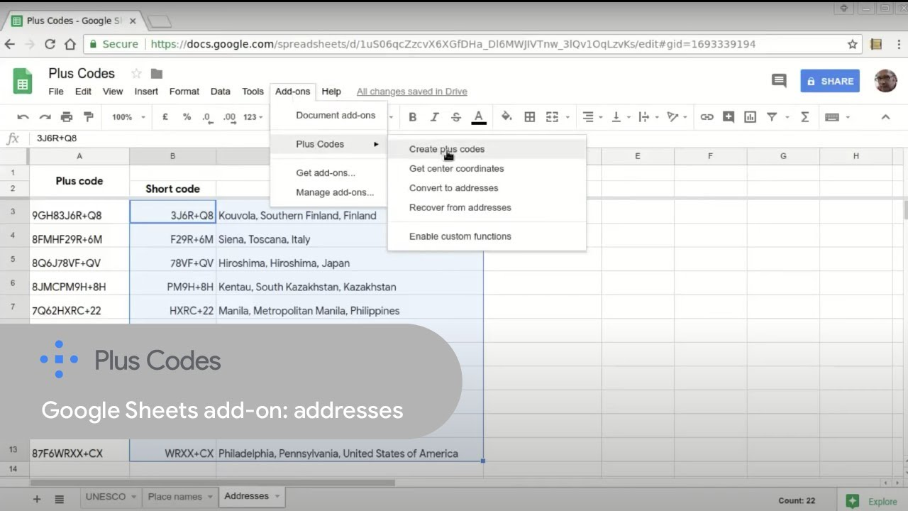Google Sheets add on: Working with plus code addresses