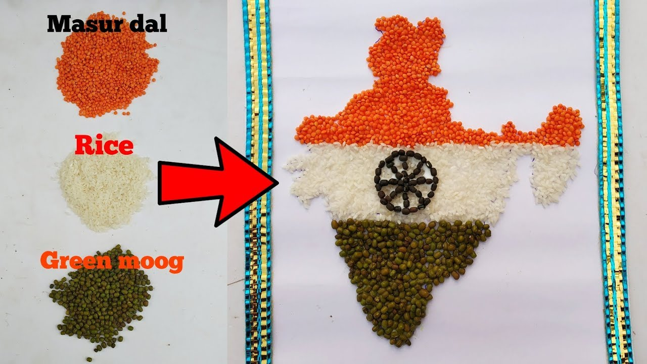 Independence Day Craft Idea Indian Map Making From Pulses Craft